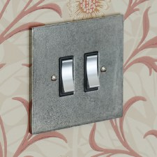 Pewter Rocker Light Switch 2 Gang