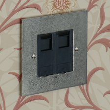 Pewter Telephone Socket Secondary 2 Gang