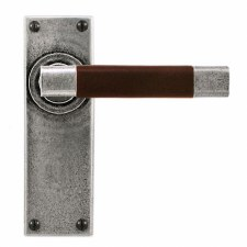 Finesse Jedburgh Door Latch Handles FD055C Pewter & Brown Leather