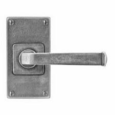 Finesse Allendale Door Handles Jesmond Short Plate FD072 Solid Pewter