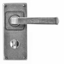 Finesse Allendale Bathroom Door Handles Jesmond Plate FD073 Solid Pewter