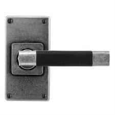 Finesse Jedburgh Door Handles Jesmond Short Plate FD111B Pewter & Black Leather