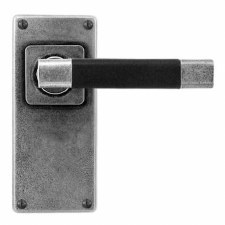 Finesse Jedburgh Door Handles Jesmond Plate FD125B Pewter & Black Leather