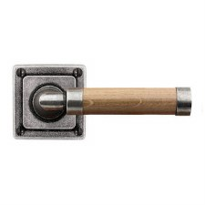 Finesse Milton Door Handles Square Rose FD145 Pewter & Oak