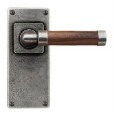 Finesse Milton Door Handles Jesmond Plate FD150 Pewter & Walnut
