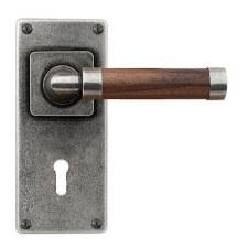 Finesse Milton Door Lock Handles Jesmond Plate FD154 Pewter & Walnut