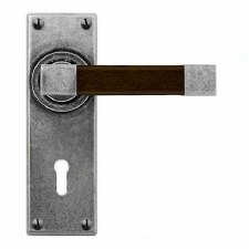 Finesse Eden Door Lock Handles FD162 Pewter & Walnut