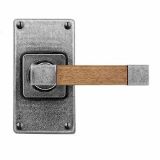 Finesse Eden Door Handles Jesmond Short Plate FD165 Pewter & Oak