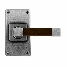 Finesse Eden Door Handles Jesmond Short Plate FD166 Pewter & Walnut