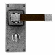 Finesse Eden Bathroom Door Handles Jesmond Plate FD170 Pewter & Walnut