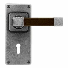Finesse Eden Door Lock Handles Jesmond Plate FD172 Pewter & Walnut