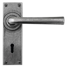 Finesse Tunstall Door Handles Lock Plate FD303 Solid Pewter