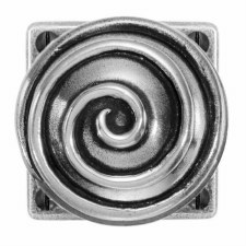 Finesse Swirl Door Knobs on Square Rose FD079 Solid Pewter