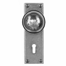 Finesse Pelton Door Knobs on Lock Plate FD175 Solid Pewter