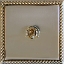 Georgian Dolly Switch 1 Gang Polished Brass Unlacquered
