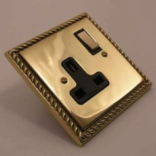 Georgian Switched Socket 1 Gang Polished Brass Unlacquered