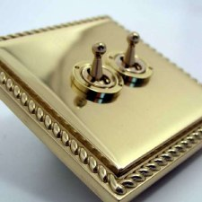 Georgian Dolly Switch 2 Gang Polished Brass Unlacquered