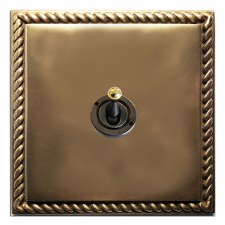 Georgian Dolly Switch 1 Gang Hand Aged Brass