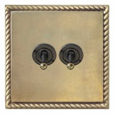 Georgian Dolly Switch 2 Gang Antique Satin Brass