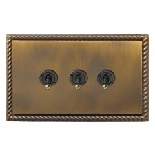 Georgian Dolly Switch 3 Gang Antique Brass Lacquered