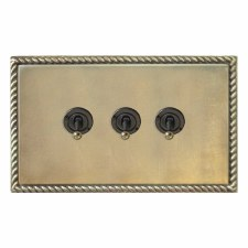Georgian Dolly Switch 3 Gang Antique Satin Brass