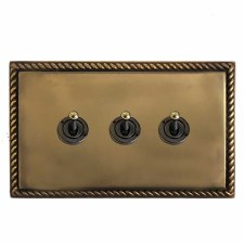 Georgian Dolly Switch 3 Gang Hand Aged Brass