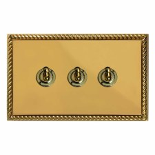 Georgian Dolly Switch 3 Gang Polished Brass Lacquered