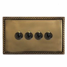 Georgian Dolly Switch 4 Gang Hand Aged Brass