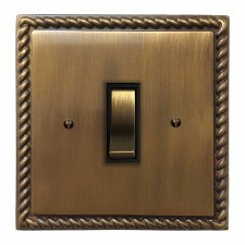Georgian Rocker Light Switch 1 Gang Antique Brass Lacquered