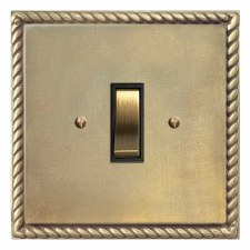 Georgian Rocker Switch 1 Gang Antique Satin Brass