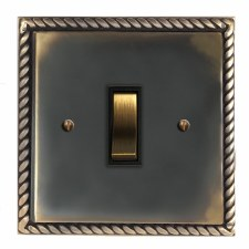 Georgian Rocker Light Switch 1 Gang Dark Antique Relief
