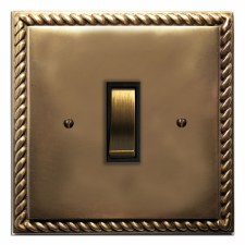 Georgian Rocker Light Switch 1 Gang Hand Aged Brass