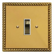 Georgian Rocker Switch 1 Gang Polished Brass Lacquered & White Trim