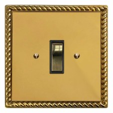 Georgian Rocker Light Switch 1 Gang Polished Brass Unlacquered