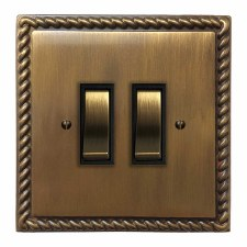 Georgian Rocker Light Switch 2 Gang Antique Brass Lacquered