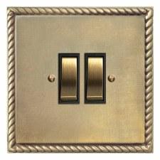 Georgian Rocker Switch 2 Gang Antique Satin Brass