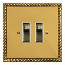 Georgian Rocker Light Switch 2 Gang Polished Brass Lacquered & White Trim