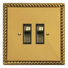 Georgian Rocker Light Switch 2 Gang Polished Brass Lacquered & Black Trim