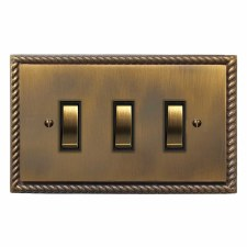 Georgian Rocker Light Switch 3 Gang Antique Brass Lacquered