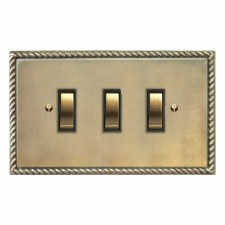 Georgian Rocker Switch 3 Gang Antique Satin Brass