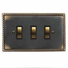 Georgian Rocker Switch 3 Gang Dark Antique Relief