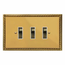 Georgian Rocker Light Switch 3 Gang Polished Brass Lacquered & White Trim