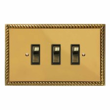 Georgian Rocker Light Switch 3 Gang Polished Brass Lacquered & Black Trim