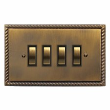Georgian Rocker Switch 4 Gang Antique Brass Lacquered