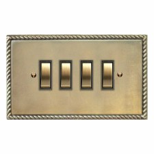 Georgian Rocker Light Switch 4 Gang Antique Satin Brass