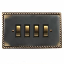 Georgian Rocker Light Switch 4 Gang Dark Antique Relief