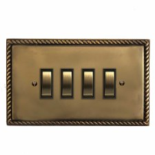 Georgian Rocker Light Switch 4 Gang Hand Aged Brass