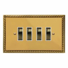 Georgian Rocker Switch 4 Gang Polished Brass Lacquered & White Trim