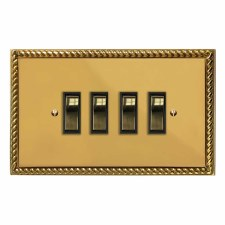 Georgian Rocker Light Switch 4 Gang Polished Brass Lacquered & Black Trim
