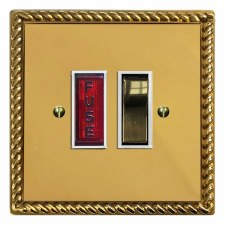 Georgian Switched Fused Spur Illuminated Polished Brass Lacquered & White Trim